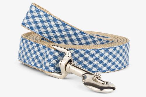 Denim Gingham Dog Leash