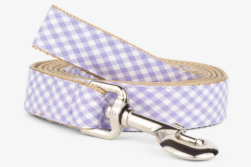Lavender Gingham Dog Leash