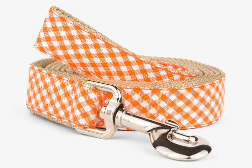 Orange Gingham Dog Leash