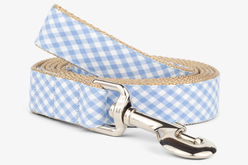 Periwinkle Gingham Dog Leash