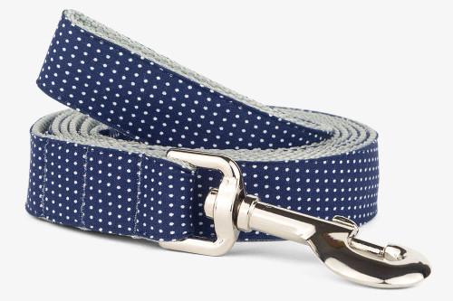Navy Pin Dots Dog Leash