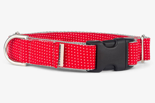 Red Pin Dots Patterned Fabric Martingale