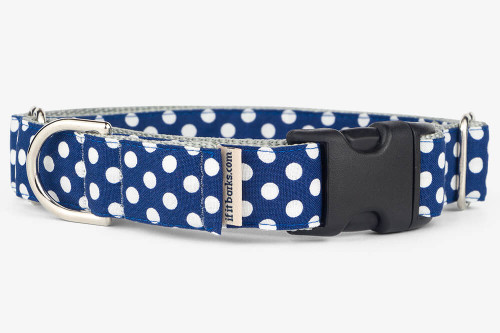 Navy Dots Patterned Fabric Martingale