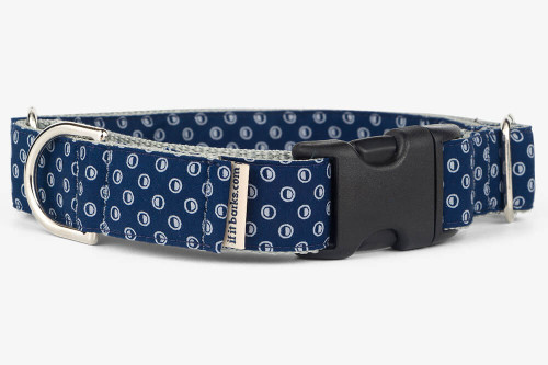 Navy Circle Hash Patterned Fabric Martingale