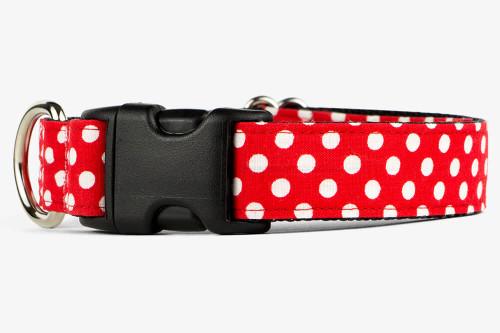 Red Dots Fabric Dog Collar