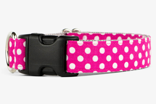 Fuchsia Mini Dots Dog Collar
