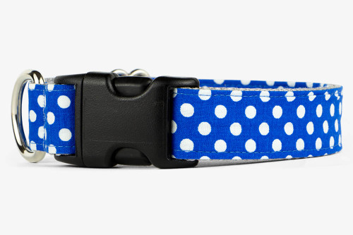 Royal Blue Mini Dots Dog Collar
