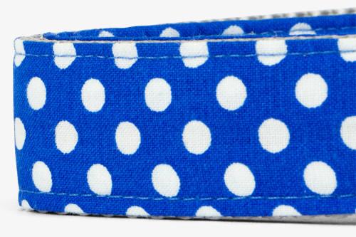 Royal Blue Dots Fabric Dog Leash