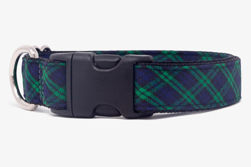Hunter Green Plaid Dog Collar