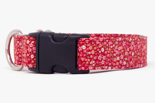 Red Petite Flowers Dog Collar