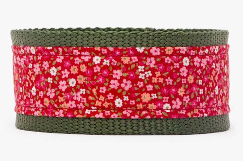Red Petite Flowers Dog Collar