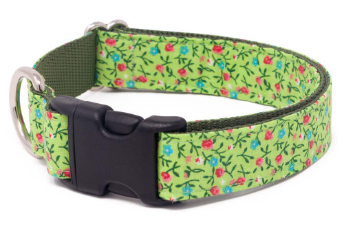Lime Country Calicos Fabric Dog Collar