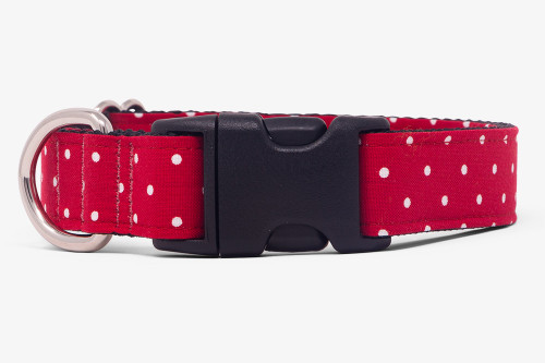 Red Small Dots Fabric Dog Collar