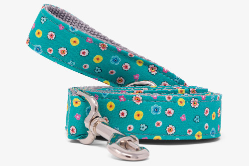 Teal Tiny Flowers Dog Leash