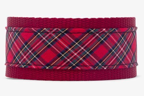 Sevenberry Red Plaid Fabric Dog Collar
