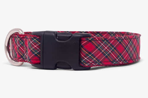 Sevenberry Red Plaid Dog Collar