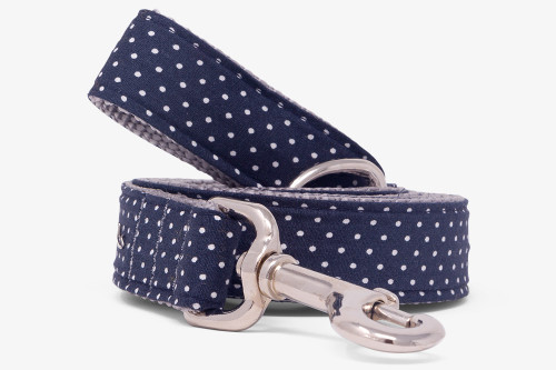 Dark Navy Pin Dots Dog Leash