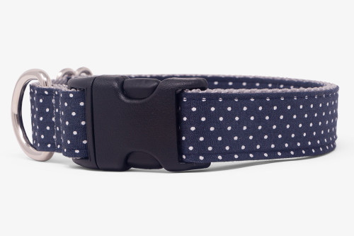 Dark Navy Pin Dots Dog Collar