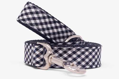 Black & White Gingham Dog Leash