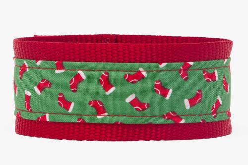 Candy Lane Stockings Fabric Dog Collar