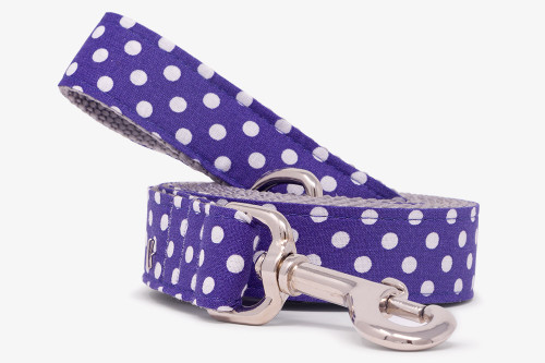 Purple Tiny Polka Dots Dog Leash