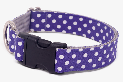Purple Dots Fabric Dog Collar