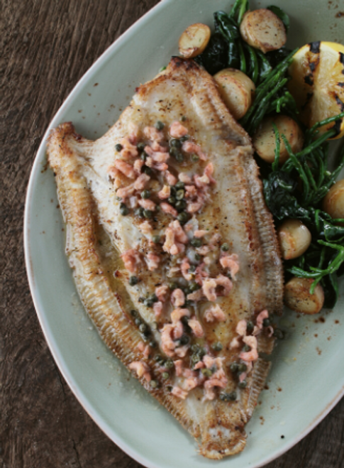 dover sole with brown shrimp