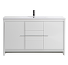 """ALMA-ALLIER 60"""" HIGH GLOSS WHITE MODERN VANITY WITH INTEGRATED COUNTERTOP WITH SINK"""