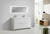 """ALMA-ALLIER 60"""" HIGH GLOSS WHITE DOUBLE SINK VANITY WITH INTEGRATED COUNTERTOP"""