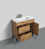 """ALMA GRACE 24"""" NATURAL WOOD FINISH VANITY WITH PORCELIAN SINK"""