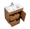 """ALMA GRACE 32"""" NATURAL WOOD FINISH VANITY WITH PORCELIAN SINK"""