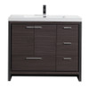 """ALMA-ALLIER 42"""" DARK GREY OAK  VANITY WITH INTEGRATED SINK / RIGHT SIDE DRAWERS"""