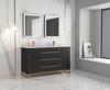 "Alma Barsalona 60"" Double sink Vanity Dawn grey Finish , Golden Brass Hardware"