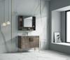 "Alma Bulanka 40"" Bathroom Vanity Plaid Grey Oak Finish , Golden Brass Hardware"