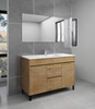 """Alma Grace 48"""" Natural Wood Finish Free Standing Vanity With Porcelain Sink"""