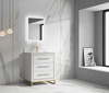 """Alma Kathyia 30"""" Free Standing Vanity ,White Stone Top With Porcelain sink ,Golden Brass Hardware"""