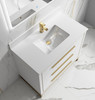 """Alma Kathyia 40"""" Free Standing Vanity ,White Stone Top With Porcelain sink ,Golden Brass Hardware"""