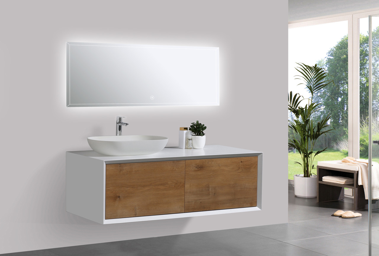 Picture of: Alma Fiona 48 Nature Wood Finish Wall Mount Vanity With Left Side Vessel Sink Alma Premium Vanities