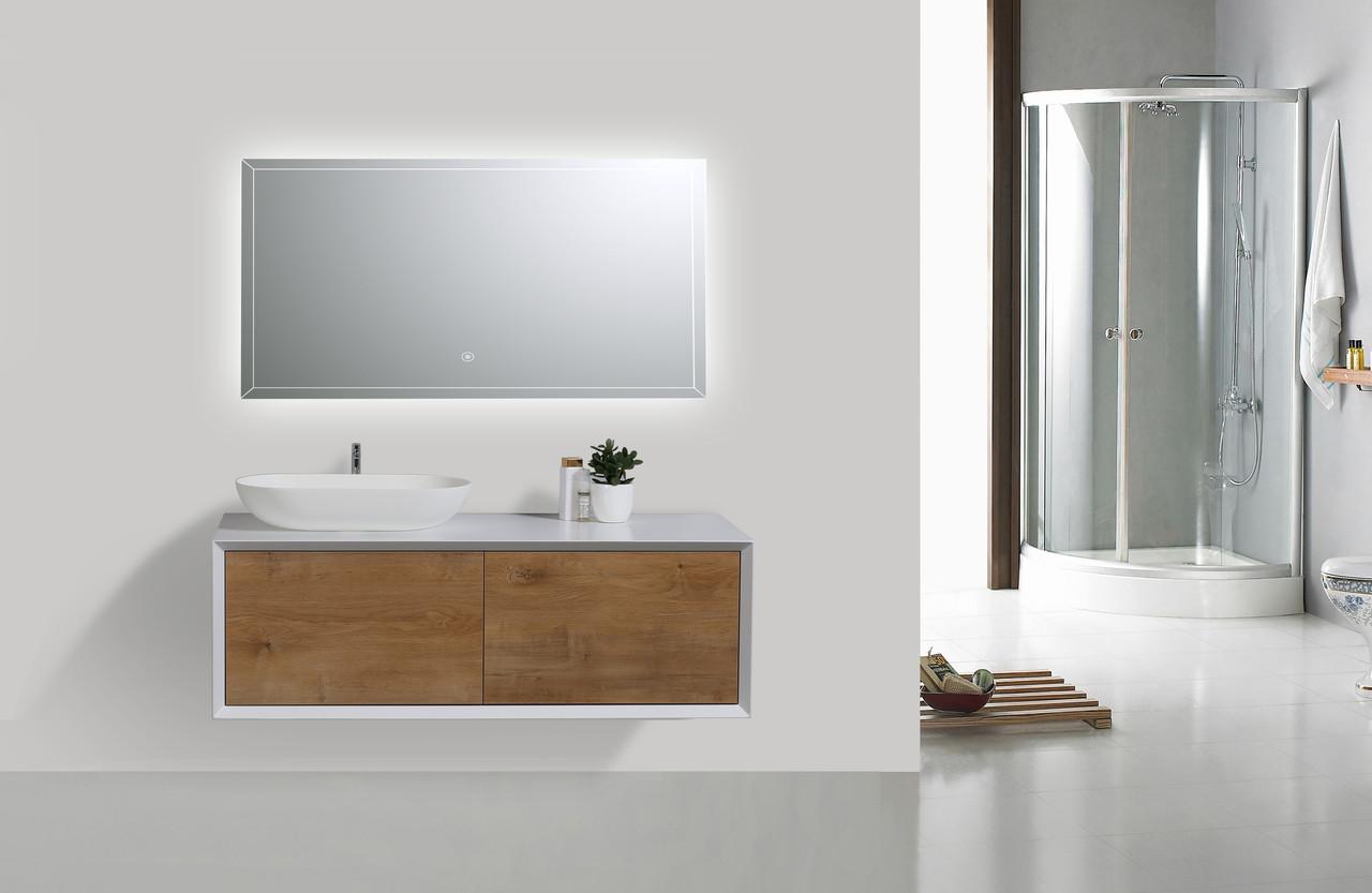 Alma Fiona 48 Nature Wood Finish Wall Mount Vanity With Left Side Vessel Sink Alma Premium Vanities