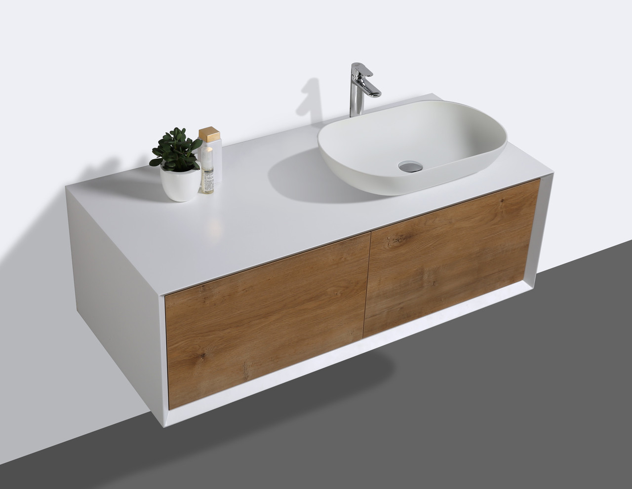 Alma Fiona 48 Nature Wood Wall Mount Vanity With Right Side Vessel Sink Alma Premium Vanities
