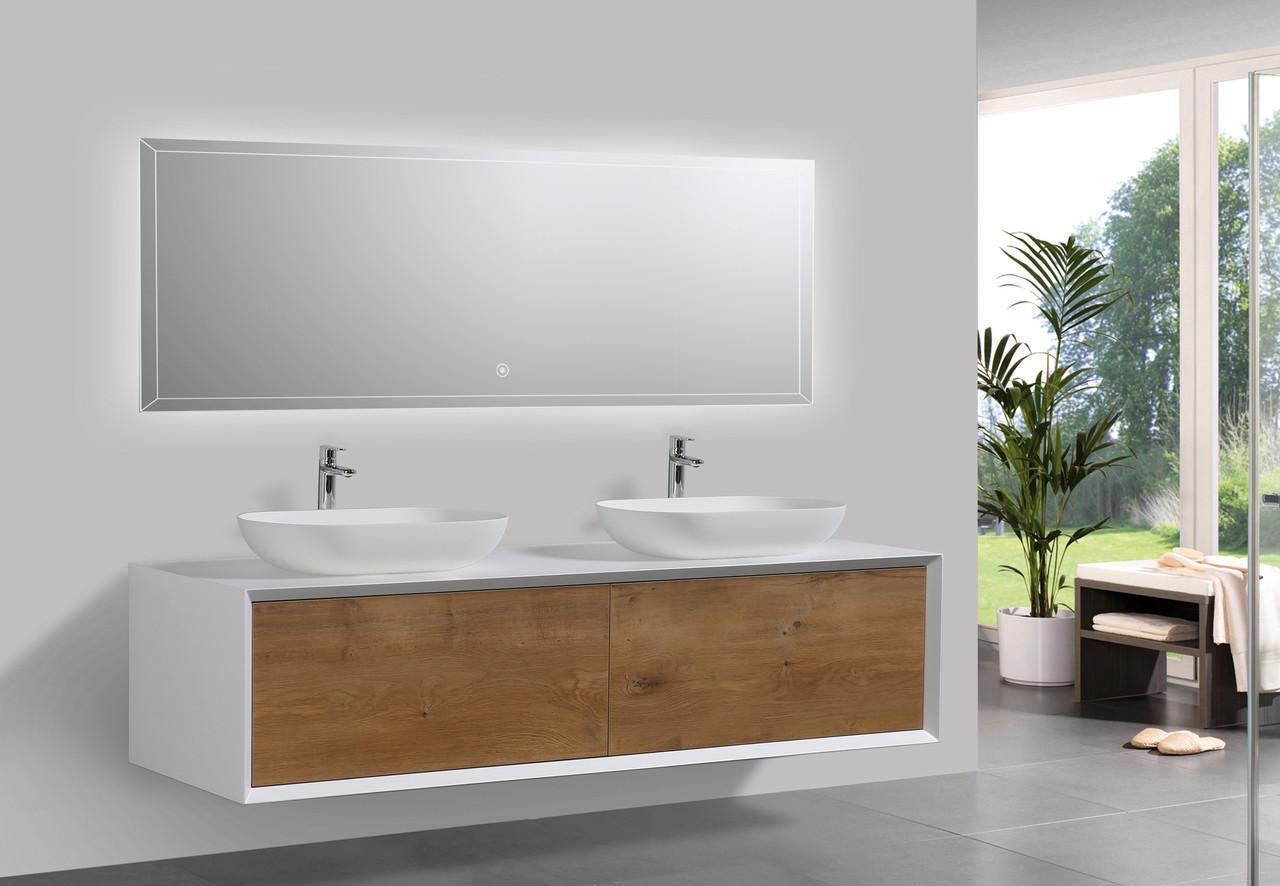 Alma Fiona 63 Nature Wood Finish Wall Mount Vanity With Double Vessel Sink Alma Premium Vanities