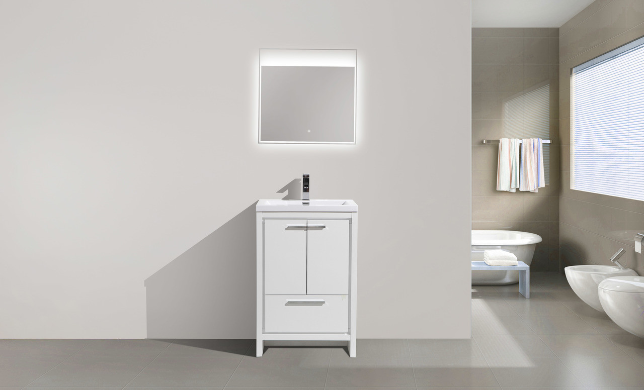 . ALMA ALLIER 24  HIGH GLOSS WHITE MODERN VANITY WITH INTEGRATED COUNTERTOP  WITH SINK