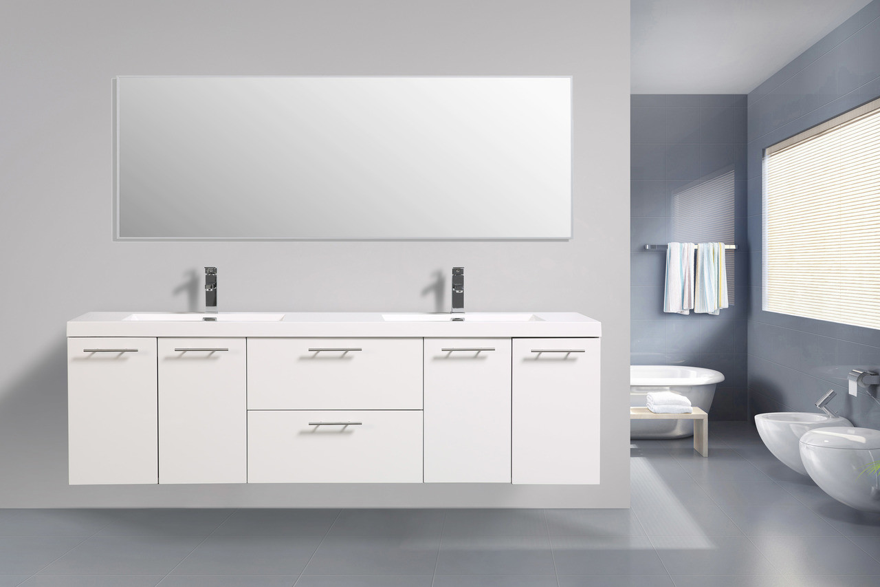alma luxury 72 glossy white double sink vanity with sink