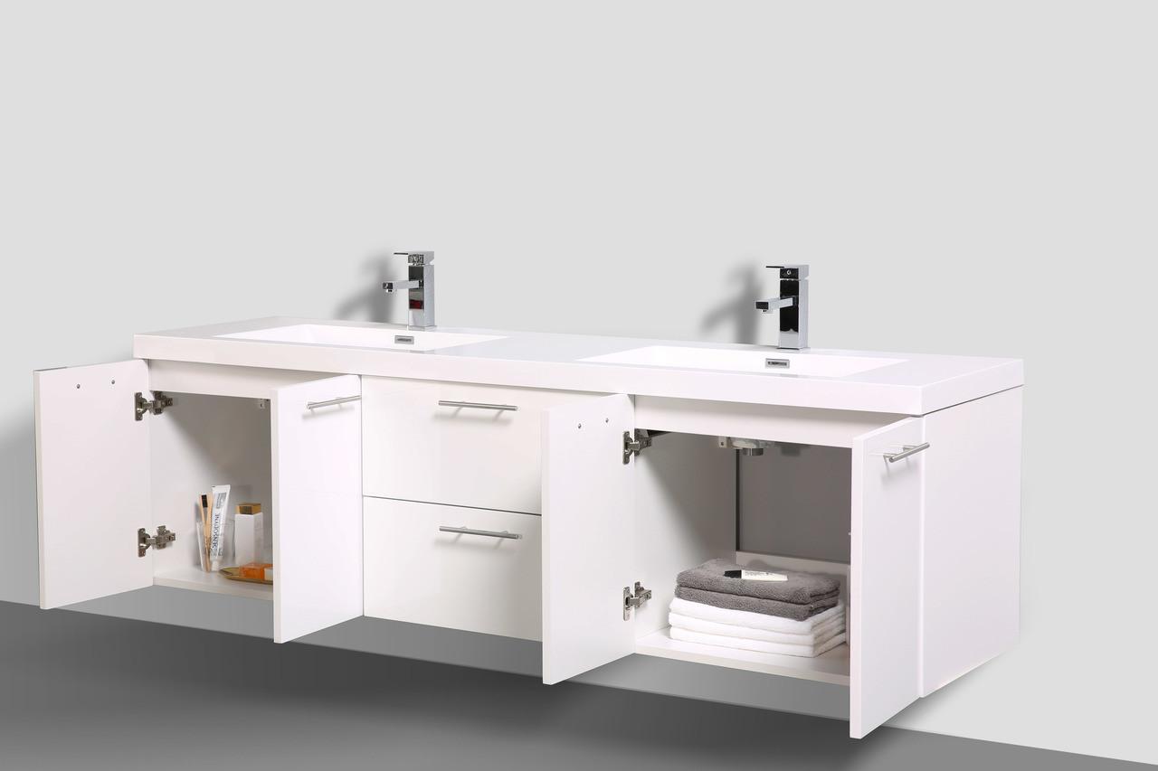Alma Luxury 72 Glossy White Double Sink Vanity With Sink Alma Premium Vanities