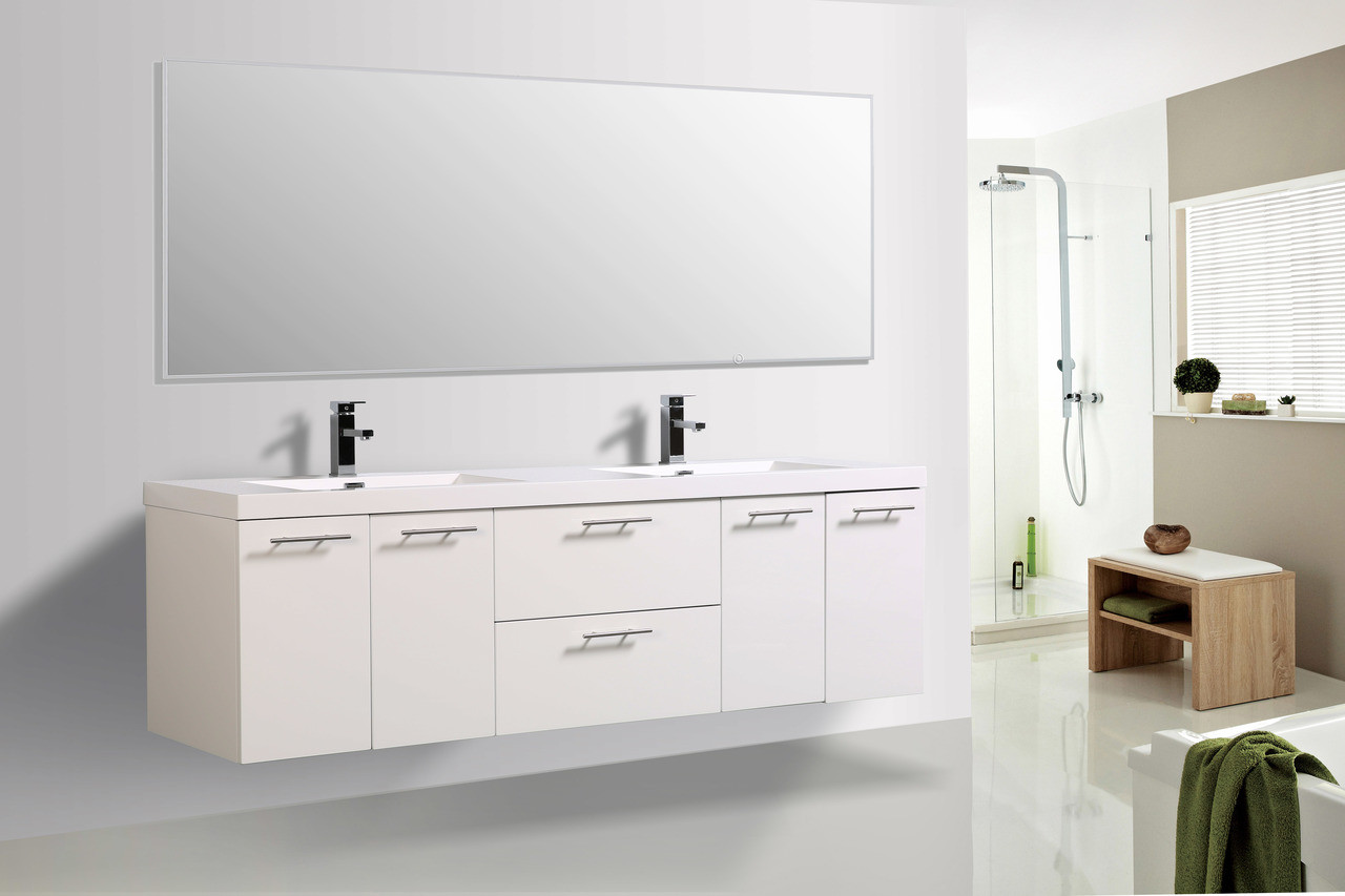 Alma Luxury 72 Glossy White Double Sink Vanity With Sink Alma Premium Vanities