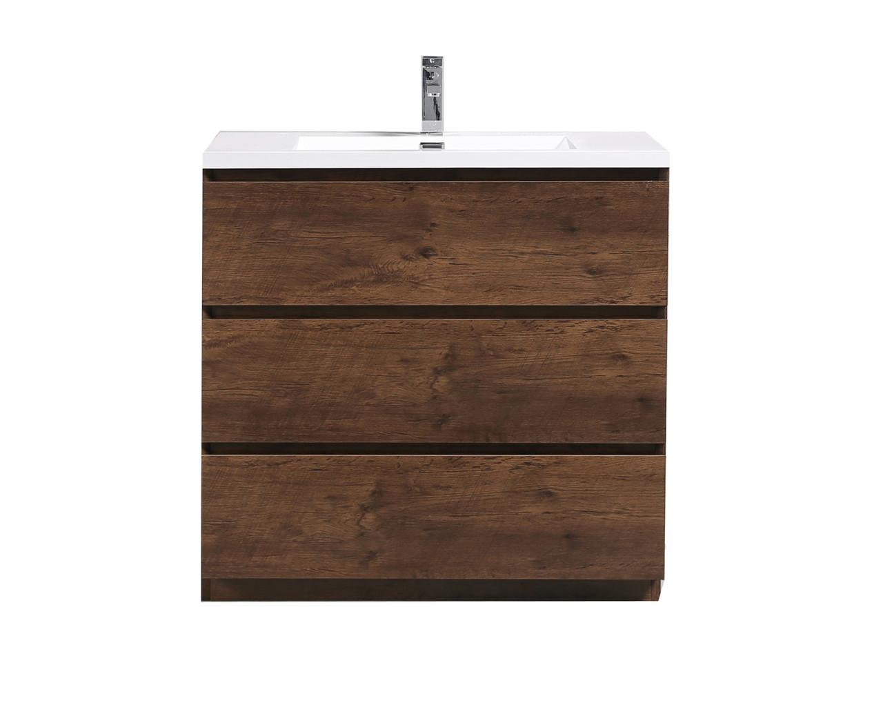 Alma Edison 36 Rosewood Modern Bathroom Vanity W 3 Drawers And Acrylic Sink Alma Premium Vanities