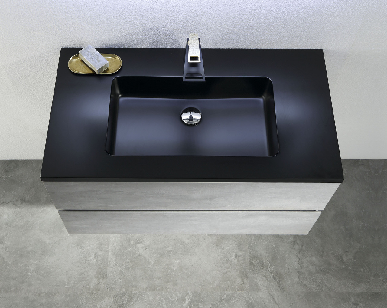 Alma Edi 30 Cement Grey Wall Mount Vanity With Black Countertop Alma Premium Vanities