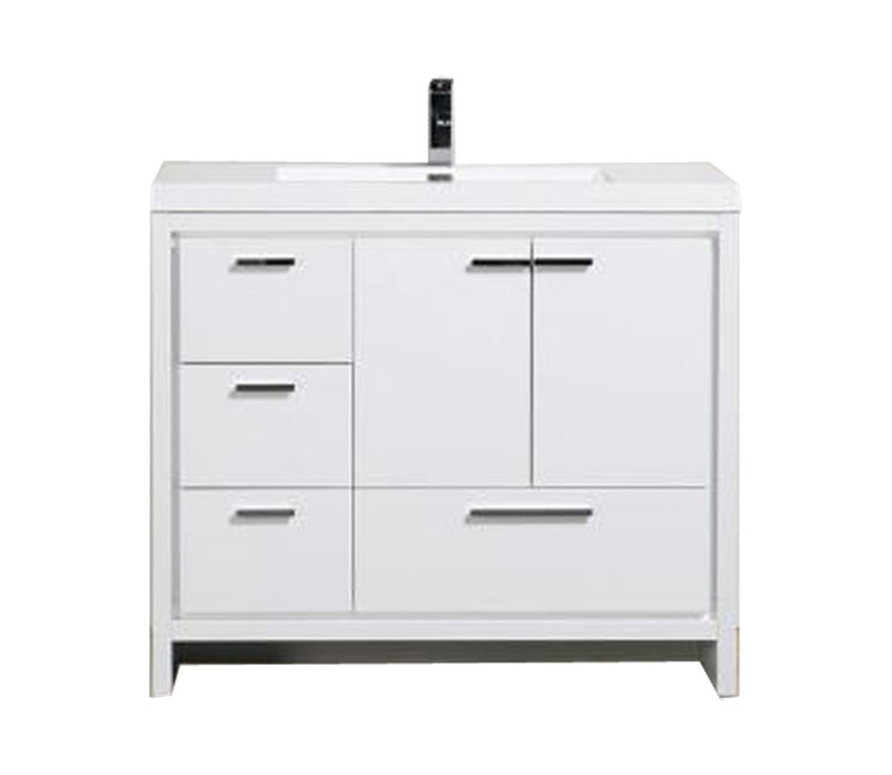 Picture of: Alma Allier 42 High Gloss White Vanity With Integrated Sink Left Side Drawers Alma Premium Vanities
