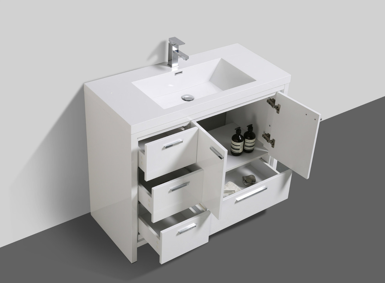 Alma Allier 42 High Gloss White Vanity With Integrated Sink Left Side Drawers Alma Premium Vanities