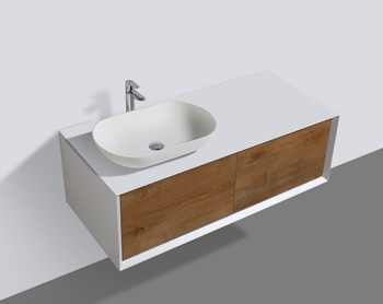 ALMA-FIONA 48″ NATURE WOOD FINISH WALL MOUNT  VANITY WITH LEFT SIDE VESSEL SINK